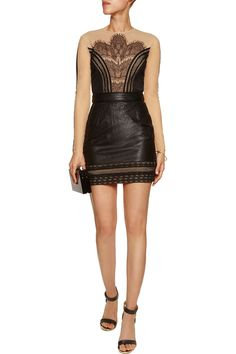 Self-PortraitWanderlust embroidered tulle and faux leather mini dressfront