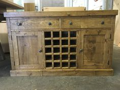A Rustic Plank dresser base with wine rack. BESPOKE FURNITURE AT AFFORDABLE PRICES. www.cobwebsfurniture.co.uk