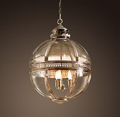 Victorian Hotel Pendant in Polished Nickel or in Antique Brass Finish, from $1395 - $2195 (in different sizes)---Restoration Hardware