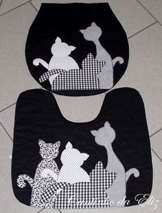 GloboMail Pro :: 10 mais Pins para sua pasta artesanato---Love this toilet lid and mat setqu Cat Applique, Applique Patterns, Sewing Patterns, Sewing Hacks, Sewing Crafts, Sewing Projects, Cat Crafts, Diy And Crafts, Foto Quilts