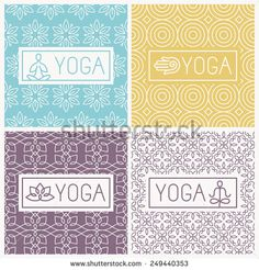 Vector yoga icons and line badges - graphic design elements in outline style or logo templates for spa center or yoga studios - stock vector