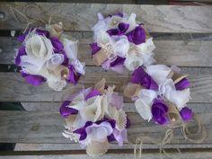 Purple burlap Chic Curtain Drapery Tie-Backs set handmade tattered New four  #Handmade #Shabbycottagechic