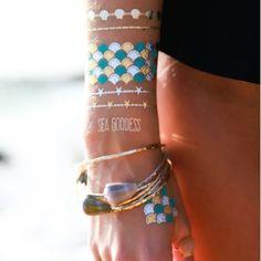 Unique metallic flash tattoo DIY ideas and designs   Mermaid Flash Tattoos - Darby Smart