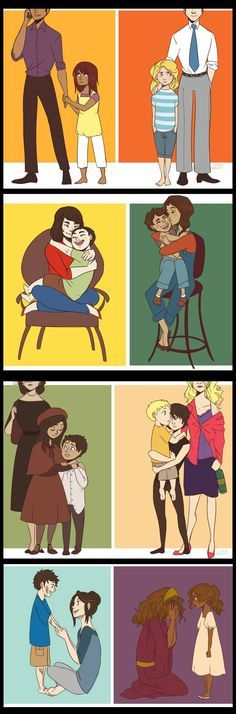 Demigods and their mortal parents: (from top to bottom) Tristan and Piper McLean, Frederick and Annabeth Chase, Frank Zhang and his mother, Esperanza and Leo Valdez, Maria, Bianca and Nico di Angelo, Thalia and Jason Grace and their mother, Sally and Percy Jackson, and Marie and Hazel Levesque