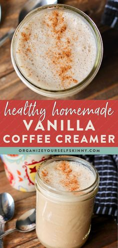 Homemade Coffee Creamer {Vegan Recipe} - Organize Yourself Skinny Clean Coffee Creamer, Dairy Free Coffee Creamer, Vanilla Coffee Creamer, Homemade Coffee Creamer, Coffee Creamer Recipe, Coffee Cans, Recipe Organization, Coffee Recipes, Paleo Coffee