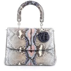 Pre-Owned Christian Dior Be Dior Bag Python Medium ($3,585) ❤ liked on Polyvore featuring bags, handbags, grey, grey leather tote, grey purse, leather tote bags, grey leather purse and studded leather purse