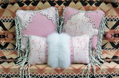 Western leather fur pillow home decor vintage style arctic fox tooled leather white pink  cowboy boot design luxury STARGAZER MERCANTILE via Etsy