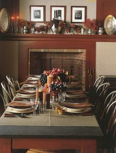 A long table set up in front of a fireplace has such a welcoming and relaxing feel.