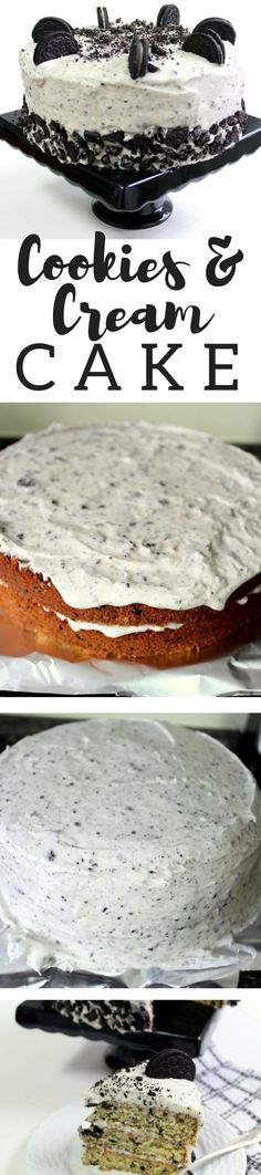 Junia's Cookies & Cream Cake Pecan Pie Cupcakes, Cookies And Cream Cake, Vanilla Cookies, Delicious Cake Recipes, Yummy Cakes, Dessert Recipes, Dessert Ideas, Delicious Food, Tasty