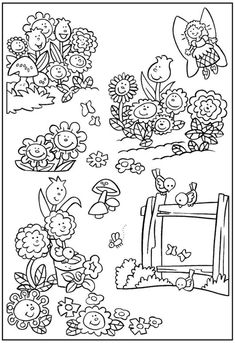 Colorful And Beautiful Flower Garden Coloring Page