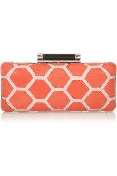 Diane von FurstenbergTonda Hexagon Patchwork leather box clutch. http://blog.topshelfclothes.com/blog/