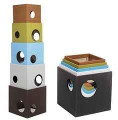 I love the stackable, and storable design of this cat tower, but not the price.  My kitties are on a budget.  I'm thinking I could recreate the same thing with cardboard boxes and fabric.
