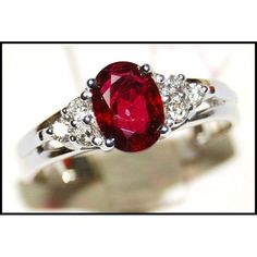 http://rubies.work/0545-sapphire-ring/ Solitaire Ruby Ring and Diamond 18K White Gold by BKGjewels