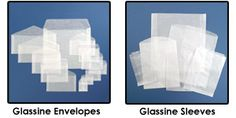 Glassine sleeves made from transparent, 30 lb., virgin glassine and have strong outside-sealed seams, which are glued with anti-tarnish adhesive.
