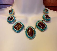 Tiger Eye and Turquoise Gold Choker Adjustable Necklace by Oldtonewjewels on Etsy