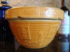 """RARE OLD MCCOY 7"""" BOWL GIRL WITH WATERING CAN """"BITTERSWEET"""" YELLOW WARE"""