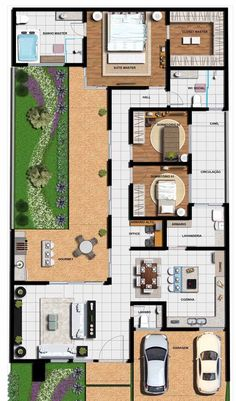E para a área interna também: veja que as plantas tem lugar garantido nesse projeto pronto House Layout Plans, Dream House Plans, House Layouts, House Floor Plans, Narrow House Plans, Modern House Plans, Small House Design, Modern House Design, Home Design Floor Plans