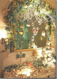 A mermaid's bathroom. I would totally so this to my bathroom LOOK AT THE BOBBLES