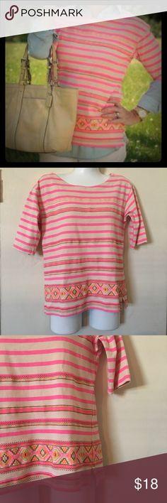 J Crew striped Neon Aztec tribal shirt size xs J Crew striped neon Aztec tribal southwest Navajo shirt. Size extra small J. Crew Tops
