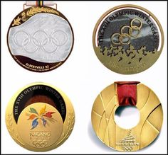 Gold Medals from (clockwise from top left) Albertville 1992, Lillehammer 1994, Torino 2006, Nagano 1998.