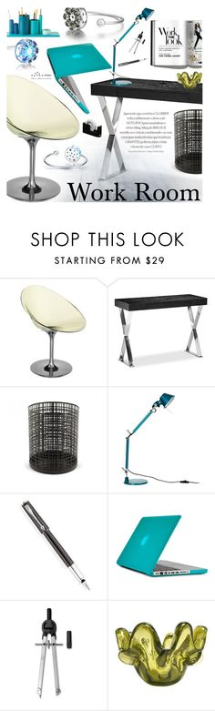 """""""Work Room"""" by totwoo ❤ liked on Polyvore featuring interior, interiors, interior design, home, home decor, interior decorating, Kartell, Pangea, Artemide and Parker"""