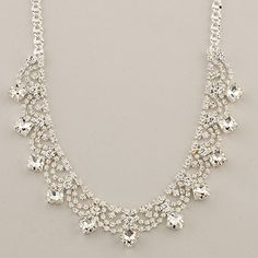 312081 Rosa Square Stone Points Crystal Necklace