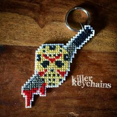 Killer Keychains - Slasher - Horror Cross Stitch Keychain - Jason Voorhees - Friday the 13th by DysfunctionalThreads