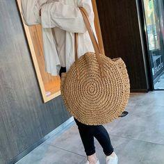 Women Shoulder Bags Circle Straw Handbags Casual Rattan Big Capacity H – Center Of Treasures Summer Tote Bags, Summer Handbags, Straw Handbags, Leather Handbags, Women's Handbags, Woven Beach Bags, Look Boho Chic, Round Straw Bag, Leather Bags Handmade