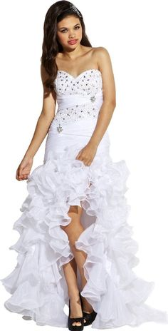 WHITE RUFFLE SKIRT | White high low prom dresses with ruffle skirt 2013