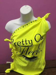 Cut Up Tees, Cut Shirts, Bow Back Shirt, Festival Shirts, T Shirt Diy, Projects To Try, Bows, Neon, Events