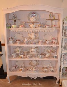Today I thought I'd share some of my favorite English Bone China cups and saucers. I display them in this old armoire my husband . Casa Mimosa, Tea Cup Display, Tea Room Decor, China Cabinet Display, Antique Dishes, China Cups And Saucers, Displaying Collections, Shabby Chic Decor, Cup And Saucer