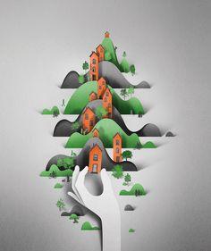 Digital Papercut Illustrations by Eiko Ojala paper illustration digital