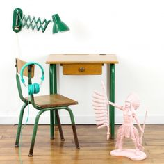 Vintage desk and chair. I love this colour green and wood combination!