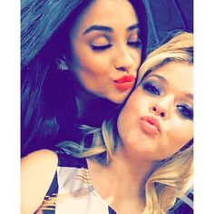 "Pretty Little Liars actresses Shay Mitchell and Sasha Pieterse snapped the cutest selfie together! ""Endgame. #PLL,"" Shay captioned the pic on Instagram."
