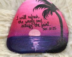 Hawaiian Sunset Hand Painted Rock - Ocean Beach sunset painting - Scripture - Inspirational Painting - Religious - Confirmation Gift by PetRocksbyTheresa on Etsy Pebble Painting, Pebble Art, Stone Painting, Diy Painting, Rock Painting Ideas Easy, Rock Painting Designs, Stone Crafts, Rock Crafts, Beach Sunset Painting