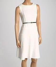 Look at this #zulilyfind! Ivory Tiered Belted Sheath Dress by Jemma Apparel #zulilyfinds