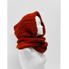 PURE NEW WOOL bulky hood scarf scoodie hand knitted fashion accessory winter