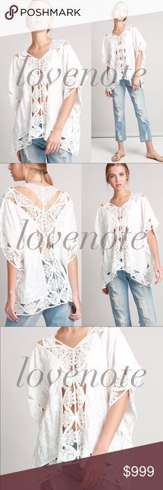POL Embroidered woven poncho crochet Blouse Top Embroidered woven poncho with see through crochet lace detail. Throw it over a swimsuit or wear over a cami! Easy breezy summer top.   Browse my closet and bundle items for a discount! lovenote Tops Blouses