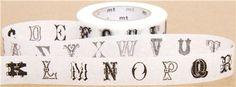 mt Washi Masking Tape deco tape with letters alphabet Mt Tape, Mt Washi Tape, Masking Tape, Scrapbook Supplies, Scrapbooking, Ens, Modes4u, Black Letter, Random Stuff