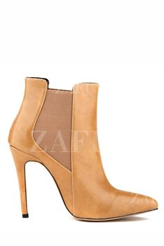 Elastic Stiletto Heel Pointed Toe Boots APRICOT: Boots | ZAFUL