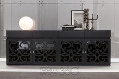 4 Door Paris Buffet in Matte Black Color by Tonin Casa