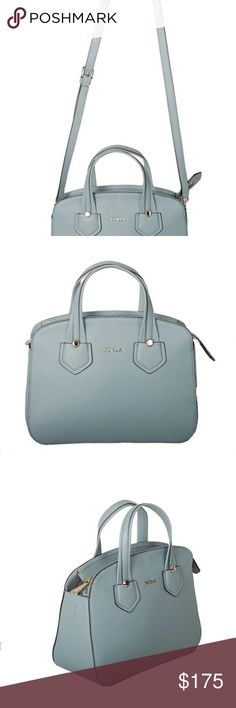 """FURLA GIADA PEBBLE LEATHER SMALL SATCHEL AZZURRO FURLA GIADA SATCHEL. STYLE#: 870009 B BJY5 VTO  MSRP: $348.00  Color: AZZURRO  It features pebble leather, top zip closure, 1 interior zip wall pocket, 1 multifunction slip pocket, flat bottom, approx 3.25"""" drop double handle straps, and detachable, single strap for shoulder/crossbody wear. This bag comes with original tag, care booklet, and dust bag. All my bags are 100% authentic from department stores. Furla Bags Satchels"""