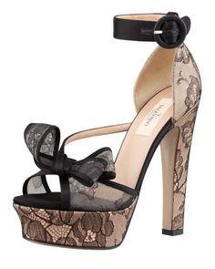 Satin-Lace Bow Platform Sandal, Black/Skin by Valentino at Bergdorf Goodman.