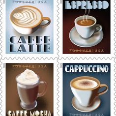Now, you can send letters with stamps showcasing four types of Italian espresso drinks. Wyandotte Chicken, Coffee Origin, Coffee Industry, Commemorative Stamps, Us Postal Service, Buy Stamps, Espresso Drinks, Addressing Envelopes, Coffee Company