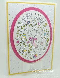 Happy Easter Bunny, Oval framelits, Spring Flowers embossing folder, Eureka Stampers Blog Hop - Rebecca Scurr - Independent Stampin' Up! demonstrator www.facebook.com/thepaperandstampaddict