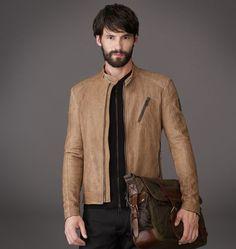 Belstaff | Mens Tumbled Leather Kirkham Jacket | Mens Luxury Jackets & Coats