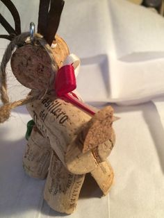 Rustic Wine cork craft holiday Christmas bottle by KrissiesKrafts Country Christmas Crafts, Christmas Crafts For Gifts, Christmas Ornament Crafts, Christmas Holidays, Christmas Snowflakes, Xmas, Christmas Tree, Wine Cork Art, Wine Cork Crafts