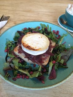 Goats cheese and caramelised red onions on ciabatta with salad @ Cobbles and Clay, Haworth
