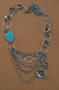 Reagan Hayhurst: Link Necklace with Hemimorphite Druzy - One of a Kind - Blossoms Collection