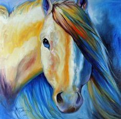 STALLION WILD WHITE n BLUE Painting